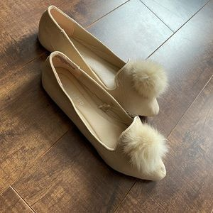 Brand new tags on fluffy nude Pom Pom flat shoes